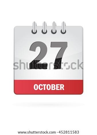 October Twenty Seven. Calendar Icon - stock vector