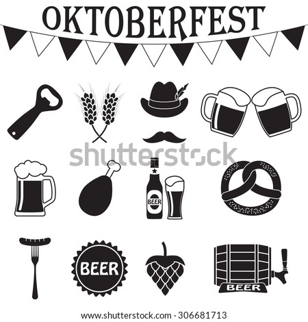 Octoberfest icon set. German food and beer symbols isolated on white background. Vector illustration. Oktoberfest beer festival flat icons design - stock vector