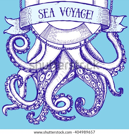 Octopus and life buoy in vintage style, vector poster - stock vector