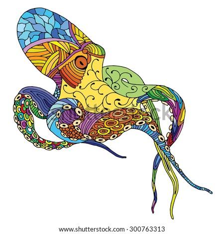 Octopus illustration - (Octopus vulgaris) isolated on white background - stock vector