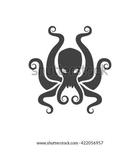 Octopus Isolated on white background vector icon in retro style. Can be used for logo or badge. - stock vector
