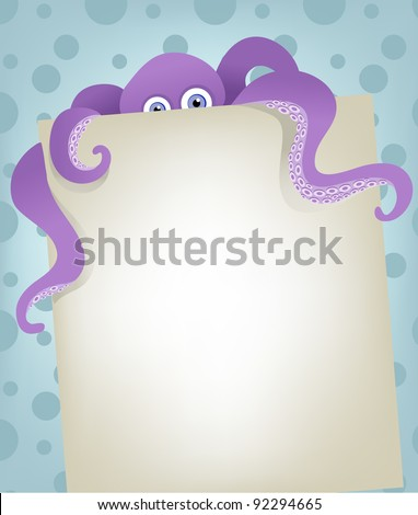 Octopus on blank background card - stock vector