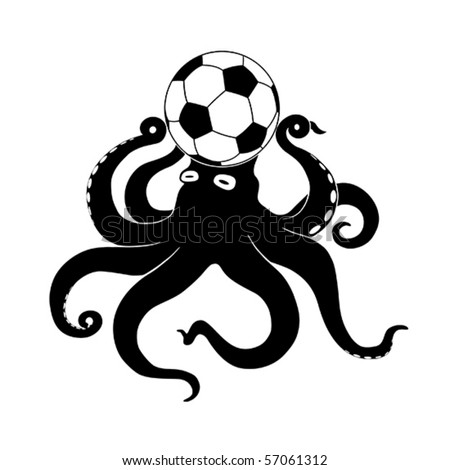 Octopus prediction football match silhouette isolated over white - stock vector