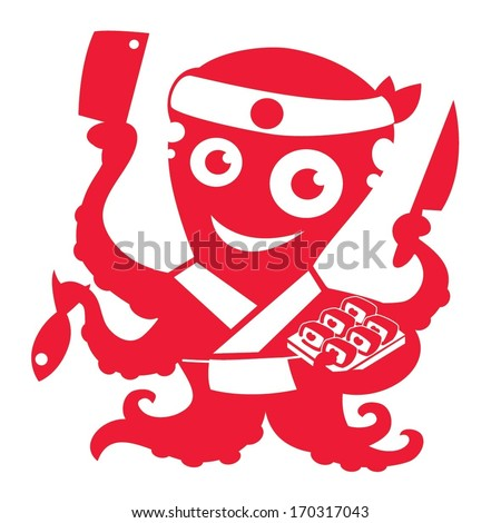 Octopus sushi chef - stock vector