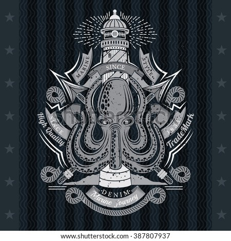 Octopus with Cross Harpoons and Lighthouse Behind. Sea Vintage Label On Blackboard - stock vector