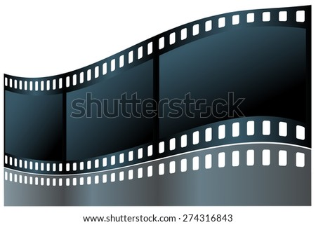 Of film on a white background with reflection. - stock vector