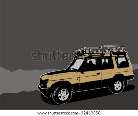 Off-road jeep. Vector illustration. - stock vector