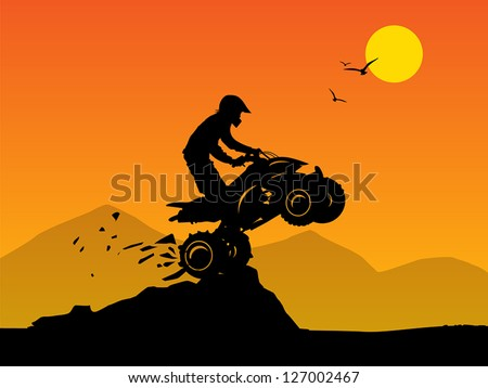 Off-road jump background, vector illustration - stock vector