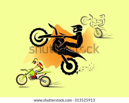 Off road sport Motorcycle. in sand hill. vector set illustration  - stock vector