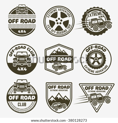 Off-road suv car set of vector monochrome labels, emblems, badges and logos isolated on gray background. Off-roading club, 4x4 club design elements. SUV front and side view vector black icon - stock vector