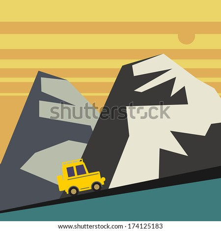 Off-road vehicle and mountains landscape, vector illustration - stock vector