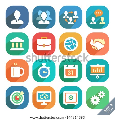 Office and business Flat icons for Web and Mobile Applications. - stock vector