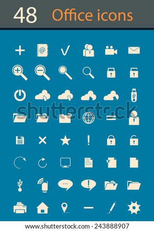 Office and organization icons set - stock vector