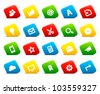 Office and web icons on colored cut square buttons, set 3. Image contains transparency - you can put it on every surface. 10 EPS - stock vector