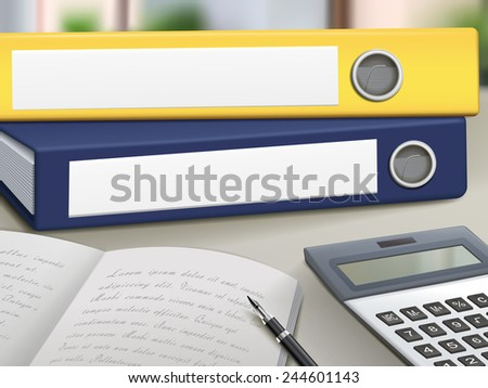 office blank binders pile up on table - stock vector