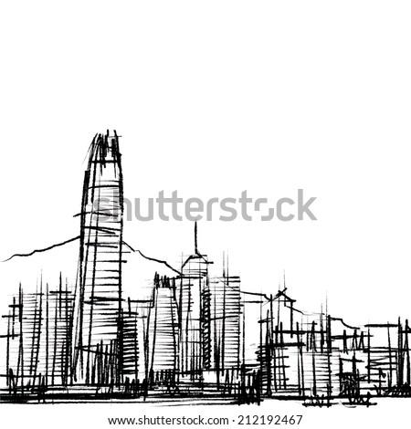 Office building at Hong Kong : sketchbook  - stock vector