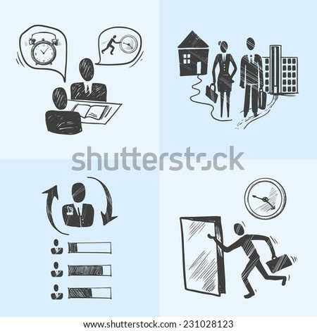 Office business sketch design concept icons set with interview chart people isolated vector illustration - stock vector
