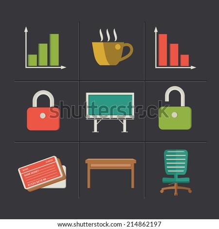 Office cartoon icons,clean vector - stock vector