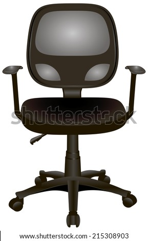 Office chair with armrests on wheels. Vector illustration. - stock vector