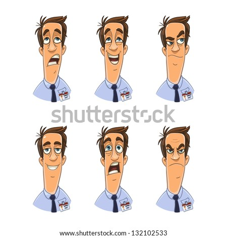 Office clerk with badge. facial expression set - stock vector