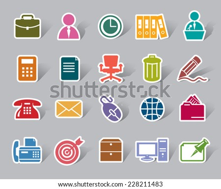 Office Color Icon Label - stock vector