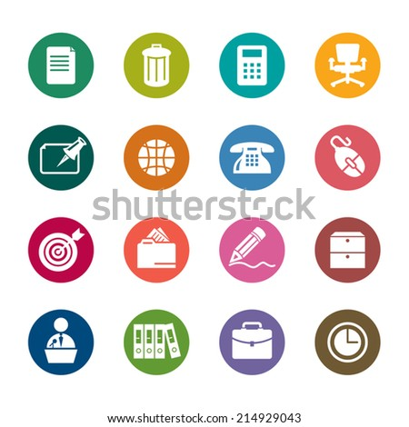 Office Color Icons - stock vector