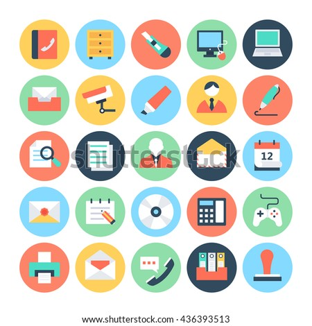 Office Colored Vector Icons 2 - stock vector