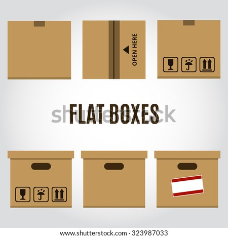 Office concept - collection of boxes and package in flat style design - stock vector