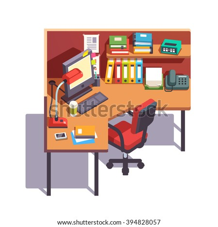 Office cubicle working desk with desktop computer, paper binders, books, notepads, telephone and table lamp. Top side view. Flat style color modern vector illustration. - stock vector
