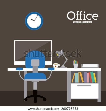 Office design, vector illustration - stock vector