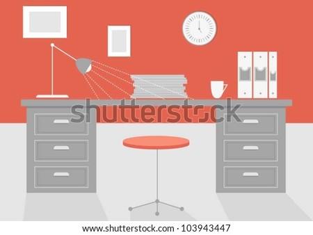Office desk - stock vector