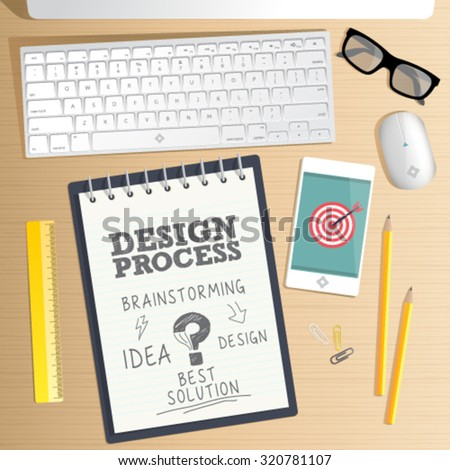 Office desk table. Design process, computer, smartphone, coffee cup. Concept for website banner, mock up, background, presentation and marketing material easy editable for Your design. - stock vector