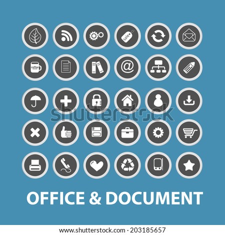 office, document, business icons, signs, symbols set, vector - stock vector