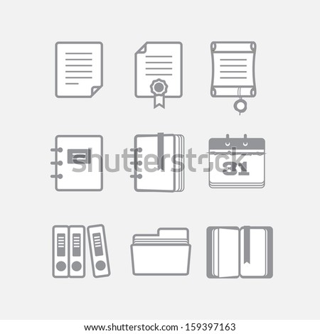 Office documents vector icons set - stock vector
