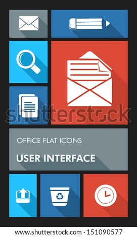 Office elements mobile UI applications graphic user interface flat icons set. Vector layered for easy editing. - stock vector