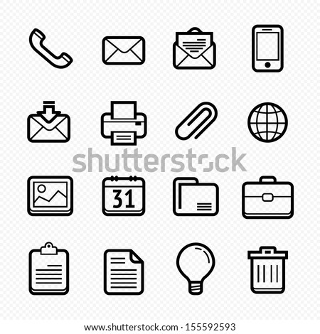 Office elements symbol line icon set on white background - Vector illustration - stock vector