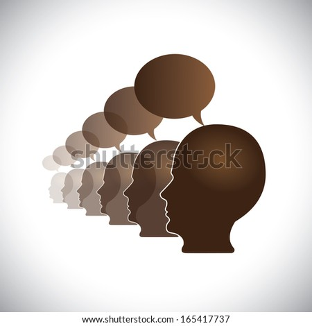 office employees meeting & sharing opinions - concept vector. This abstract graphic can also represent executive team meeting, employees discussions, networking, community interaction, internet chat - stock vector