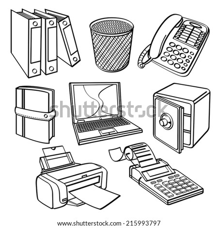 Office equipment Collection - stock vector