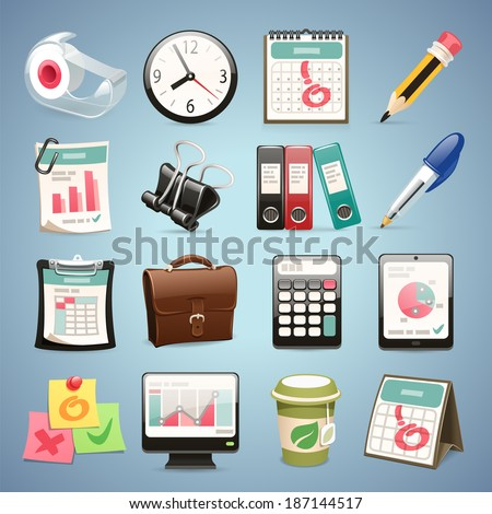 Office Equipment Icons Set1.1 In the EPS file, each element is grouped separately. - stock vector