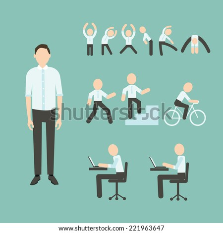 Office Exercises - stock vector