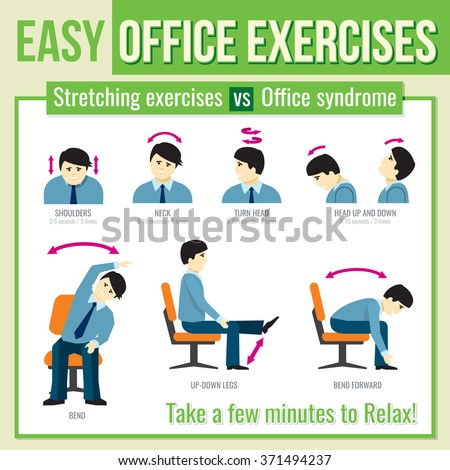 Office exercises with businessman character. Relax exercise, infographic health exercise, man head turn exercise. Vector illustration infographic - stock vector