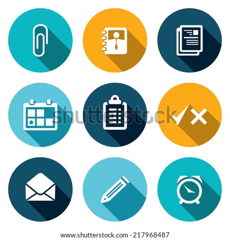 Office flat icons set - stock vector