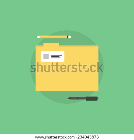 Office folder with stationary supplies and tools. Flat icon modern design style vector illustration concept. - stock vector