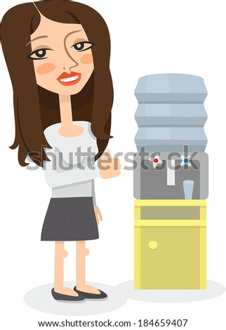 office girl approves cooler - stock vector
