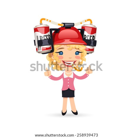Office Girl with Red Beer Helmet on Her Head. Isolated on White Background. - stock vector