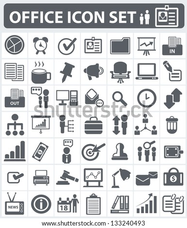 Office,human resource and business icon set,vector - stock vector
