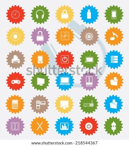Office icon set,colour version,clean vector - stock vector