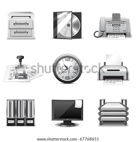 Office icons | B&W series - stock vector