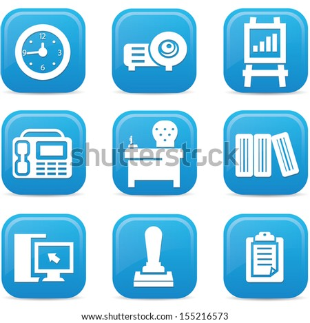 Office icons,Blue buttons,vector - stock vector
