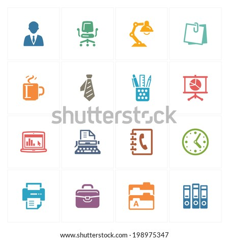 Office Icons - Colored Series  - stock vector